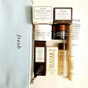 Fresh Beauty 5pc Gift Set Rose Mask Sugar Advanced Therapy Soy Cleanser BlackTea