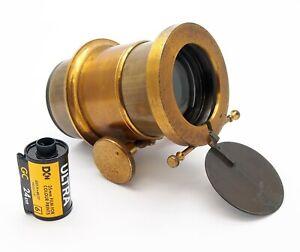 Vintage 5 inch F2.5 Brass Petzval Portrait Lens - UK Dealer