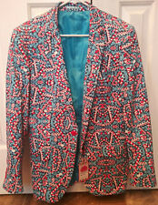 Suslo Couture Christmas Holiday Candy Cane Blazer Sport Coat Mens Medium 40 Ugly