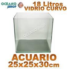 ACUARIO 25x25x30 cm CRISTAL CURVO con tapa pecera NANO PANORAMICO CUBO CUBICO