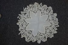 "Victorian Round Doilie- White Linen & Tape Lace -16"" Dia-Ornate & Pretty-Bargain"