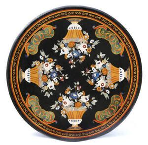 "48"" Marble Dining Table Top Handmade Pietra Dura Inlay Work Home Decor"