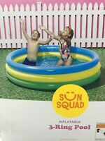 New Sun Squad Inflatable Kids 3-Ring Round Circle Wading Pool 5.5 Feet Diameter