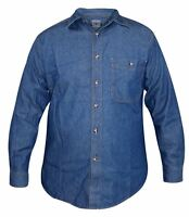 New Mens True Face Long Sleeves Collar Cotton Casual Top Dark Wash Denim Shirt