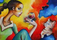 Original ACEO ART oil MINIATURE naive art girl & cat friendship colorfull