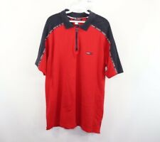 Vintage 90s Tommy Hilfiger Mens Large Taped Spell Out Zip Up Polo Shirt Red Blue