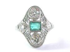 Platinum Vintage Gem Greem Emerald Old European Cut Diamond Jewelry Ring 1.72Ct