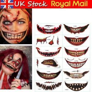 12Pcs Halloween Big Mouth Scary Tattoo Sticker Clown Zombies Face Fancy Dress UK