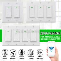 2-4 Gang Smart WiFi Wall Light Switch For Amazon Alexa Google Home Modern