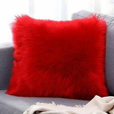 Microfiber Faux Fur Cushion Cover with Filler Set of 2 Red for home purpose
