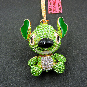 Betsey Johnson Green Crystal Cute Animal Stitch Pendant Sweater Necklace