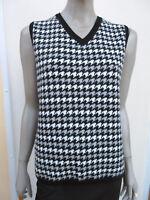 Basler - Womens Black Mix Check Sleeveless Wool Blend Jumper - size 16/18