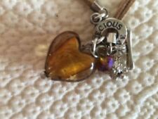 Precious Love prettynecklace with 'amber effect' heart, charms & suede necklet