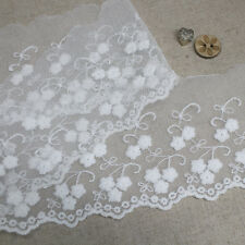 14Yds Broderie Anglaise Tulle eyelet lace trim 8cm Off-White sh40 laceking2013