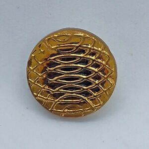 BIMINI Amber Glass Button, Gold Luster Curve Design, Flowerpot Made England Logo