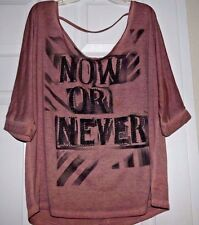 "NWOT! Junior's DECREE top ""NOW OR NEVER"" Studded T-shirt Wide shoulder Woman's L"