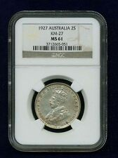 AUSTRALIA GEORGE V  1927 FLORIN SILVER COIN, UNCIRCULATED CERTIFIED NGC MS-61