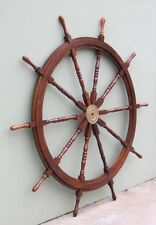 "72"" WOODEN SHIPS WHEEL WITH BRASS HUB-NAUTICAL DECOR"