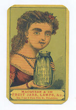 MASON's FRUIT JAR AD CARD PHILADELPHIA, PA MACQUEEN & CO. ORIGINAL ULTRA RARE
