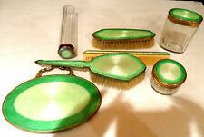 Antique Vanity set, Bronze , Guilloche enamel 7 pcs,
