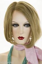Light Gold Brown Brunette Medium Human Hair  Straight Wigs