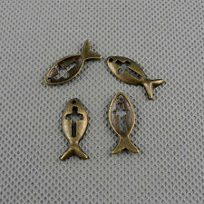 4x A2565 Jewelry Making Pendant Vintage Findings Diy Handmade Charms Cross Fish