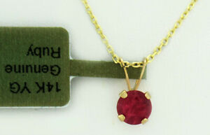 GENUINE 0.95 Cts RUBY SOLITAIRE PENDANT 14k GOLD * Free Certificate Appraisal *