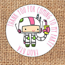 Space girl boy party bag stickers 24 thank you for coming sweet cone labels