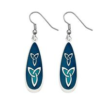 Silver Plated and Enamel Celtic Trinity Knot Blue Ear Wire Earrings (3239)