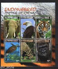 Endangered Species minisheet  mnh Montserrat 2008 elephant tiger gorilla #1202