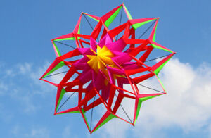 New High-quality 3D Lotus Flower Kite With Handle Light Wind Flying Foldable