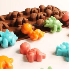 Silicone 12pcs Dinosaurs Mould Chocolate Fondant Jelly Ice Cube Baking Mold DIY