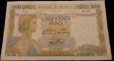 """Série:W.549"""".500frs LA PAIX 20.6.1940 rare série W.549"""