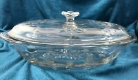 Vintage Glass Casserole Clear Anchor Hocking Savannah Oval 2 Qt Flowers Floral
