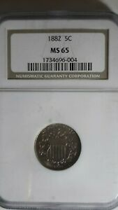 1882 Shield Nickel NGC MS65