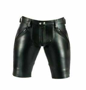 Men Genuine Leather Shorts Double Zipped Gay Bikers Shorts with zipped pockets