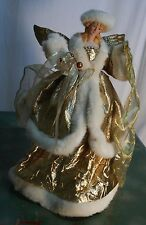 "ANGEL Gold Lame Christmas Tree Topper Porcelain Face 16"" Tall Pretty"