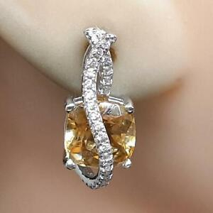 World Class 5.10ct Golden Citrine & Diamond Cut White Sapphire 925 Earrings 6.0g