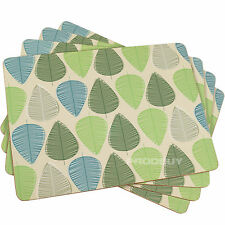 Set of 4 Beige Blue & Green Leaf Dining Table Placemats Tablemats Mats Setting