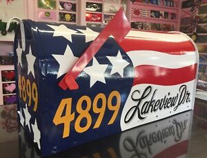 LARGE-Size MAILBOX *American FLAG design* Patriotic *Custom Painted* Rural-Style