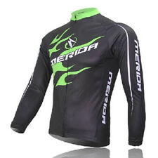 MERIDA Men's Cycling Jerseys Long Sleeve MTB Bike Bicycle Jersey Top Green Fire