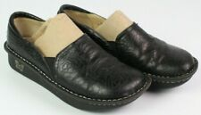 Alegria Debra Womens EUR 38 US 7.5 - 8 Black Embossed Rose Leather Clog Shoes