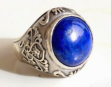 925 Sterling Silver Men's Ring with Absolutely Handmade Real Lapis Lazuli