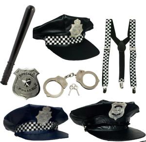 POLICE FANCY DRESS COSTUME ACCESSORIES HAT COP SUSPENDERS HANDCUFFS GLASSES UK