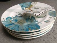 222 FIFTH Eliza Teal Fine Round Appetizer Dessert Plates Set of 4 NEW Size 6.25""