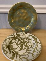 "Set Of 2 Pottery Barn Gold Scroll & Birds Salad Plates 9.25"" EUC Chinoise"