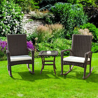 3 PCS Rattan Wicker Patio Furniture Set Coffee Table Rocking Chair Cushioned New