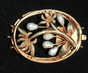 Vintage Freshwater Pearl Bead Gold Tone Floral Leaf Push Clasp 2 Pc Necklace