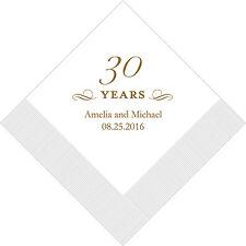 100 Printed 30th Anniversary Birthday Cocktail Napkins