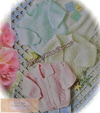 Knitting Pattern Baby's Cardigan & 2 Styles Of Sweaters Jumpers 7 Sizes FREE P&P